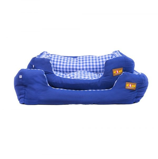 All4pets Sofa Style Velvet Pet Bed Blue Colour For Dogs & Cats
